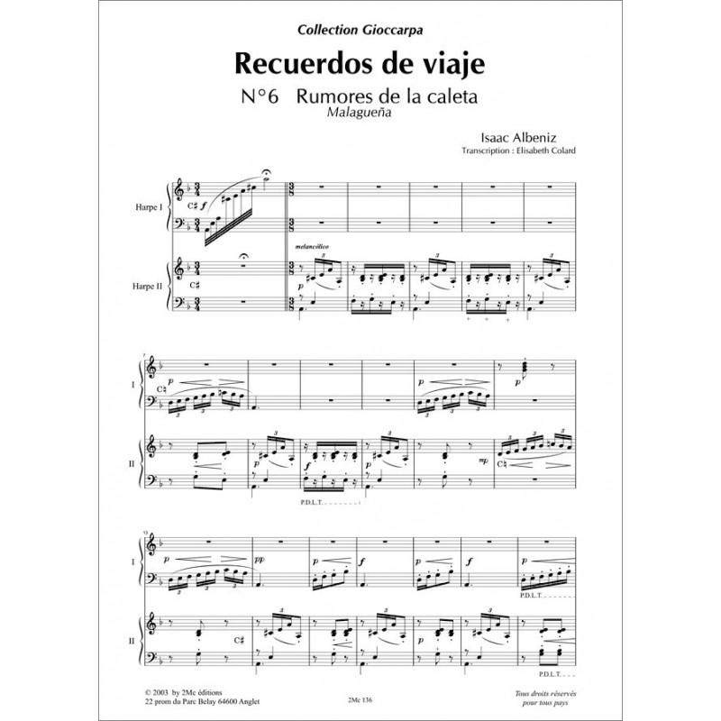 Albeniz Recuerdos de viaje n°6 2 harpes