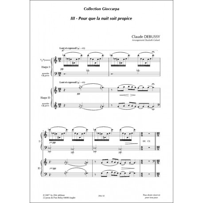 Pour que la nuit soit propice Claude Debussy 2 harpes