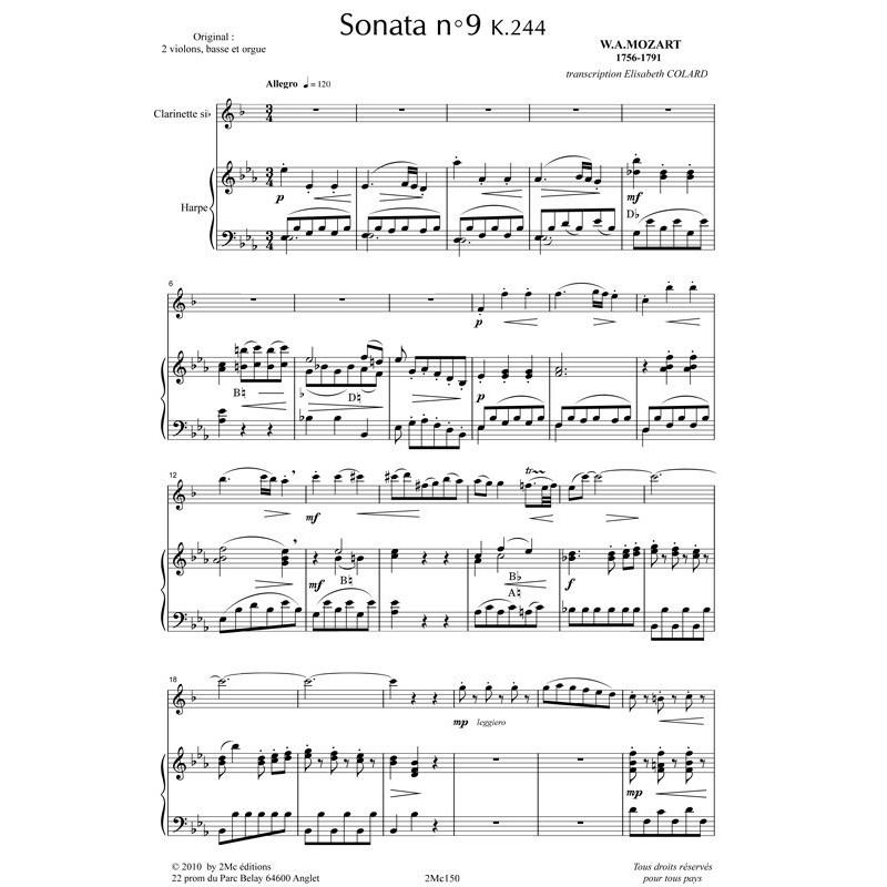 Mozart Sonata n°9 k244 (clar. et Hp)