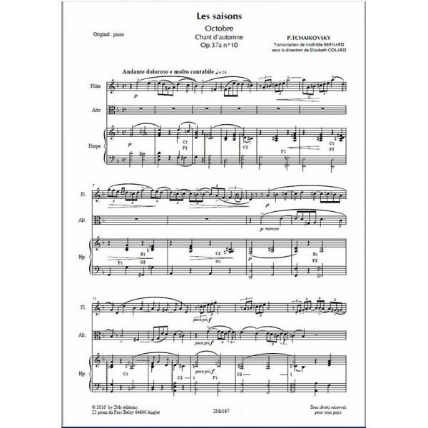Tchaikovsky Les saisons Octobre pour flûte, alto et harpe