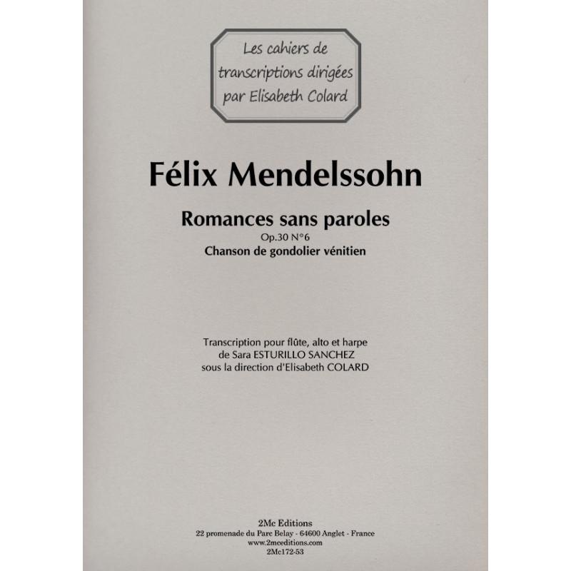 Romances sans paroles - F. Mendelssohn Flûte, Alto et Harpe Couverture